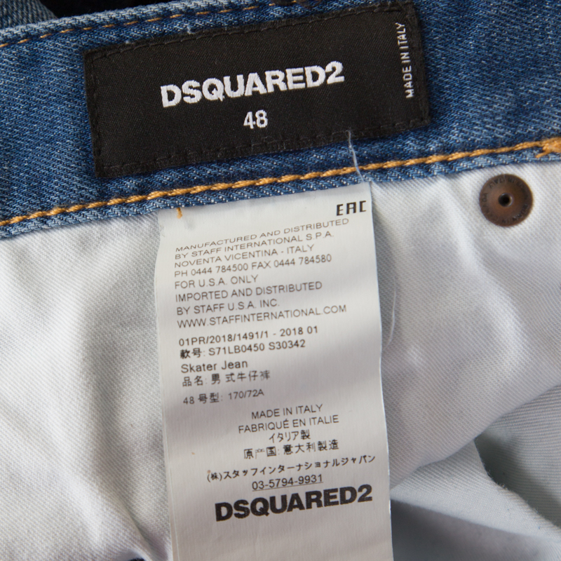 promo code 57582 588db Dsquared2 Indigo Distressed Faded Effect Denim Ruffled Tapered Jeans L