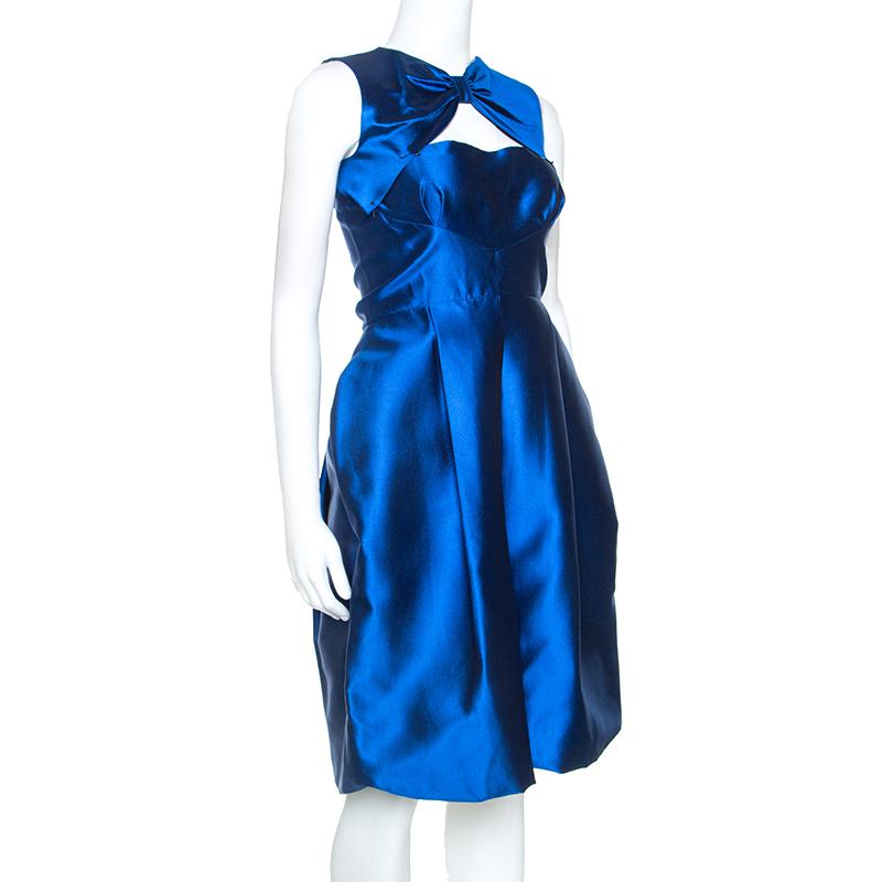 Dsquared2 En Soie Bleue Bow Encolure Ballon Ourlet De Robe De S
