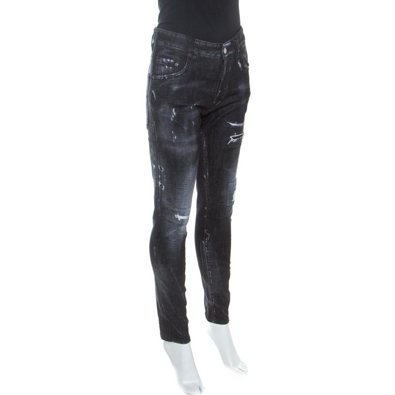 Dsquared2 Noir Délavé Distressed Denim Jeans De M