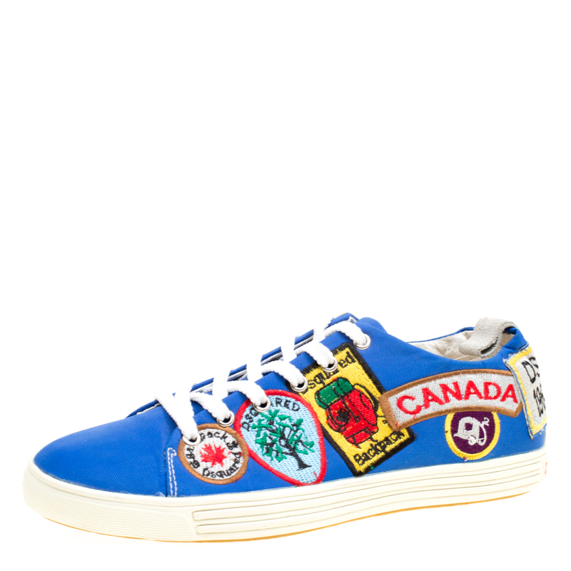 free shipping 4e45a 936d1 Dsquared2 Blue Canvas Embroidered Patch Low Top Sneakers Size 40
