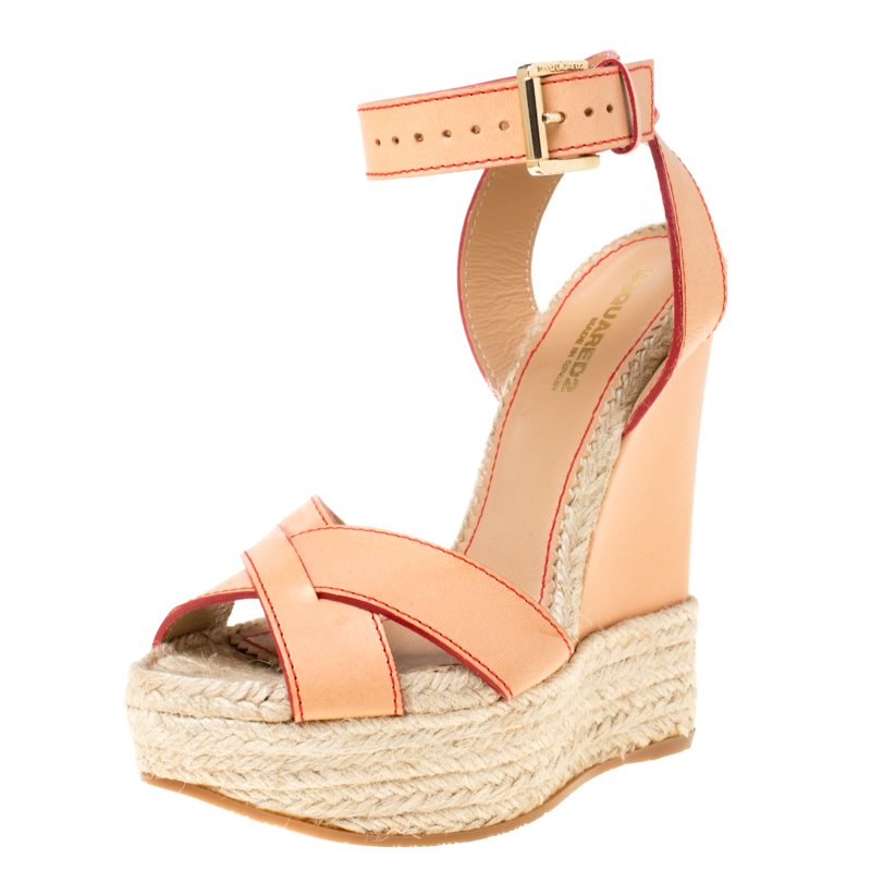 Dsquared2 Beige Leather Espadrille Ankle Strap Wedge Sandals Size 36