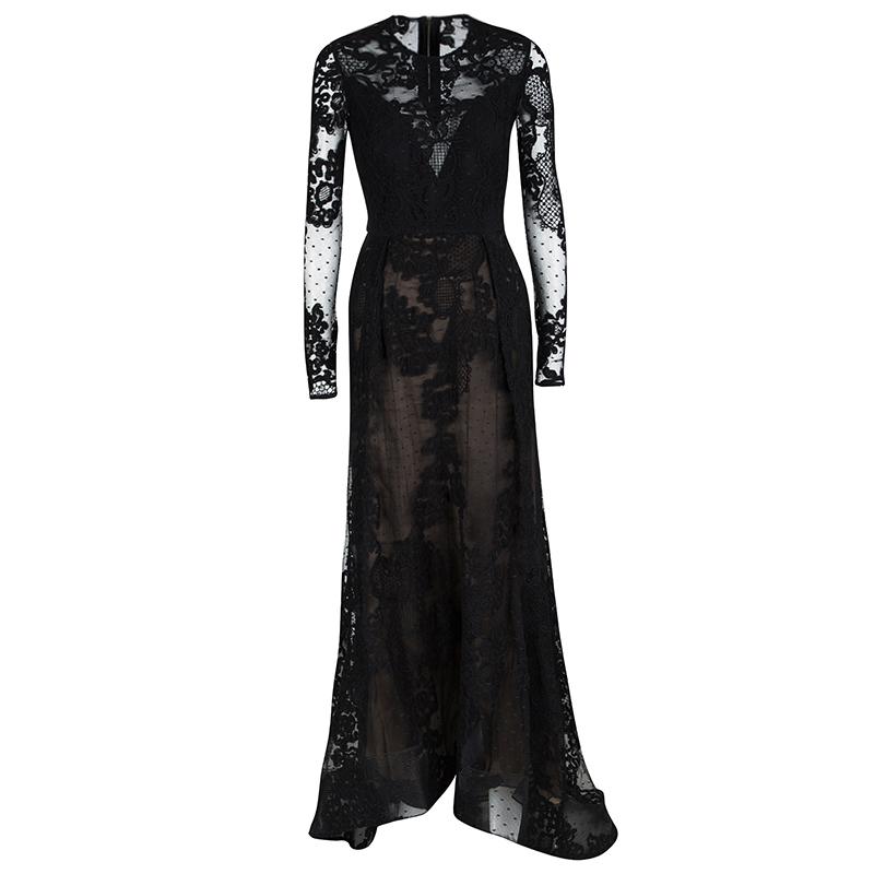 0b477f0e291 ... Elie Saab Black Floral Lace Long Sleeve Gown S. nextprev. prevnext