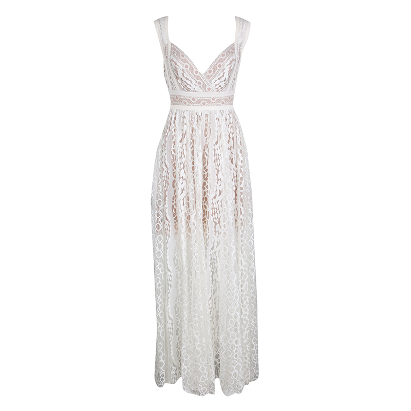 2cfcde7bad Elie Saab White Embroidered Lace Sleeveless Maxi Dress S