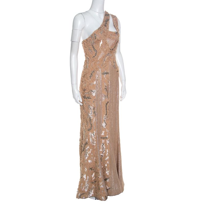 Elie Saab Beige Embellished Petal Detail Sleeveless Gown