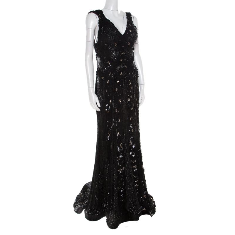 Elie Saab Black Embellished Silk Petal Applique Detail Sleeveless Gown