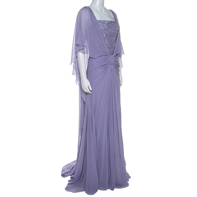 Elie Saab Lilac Silk Cape Sleeve Gathered Detail Evening Gown, Purple