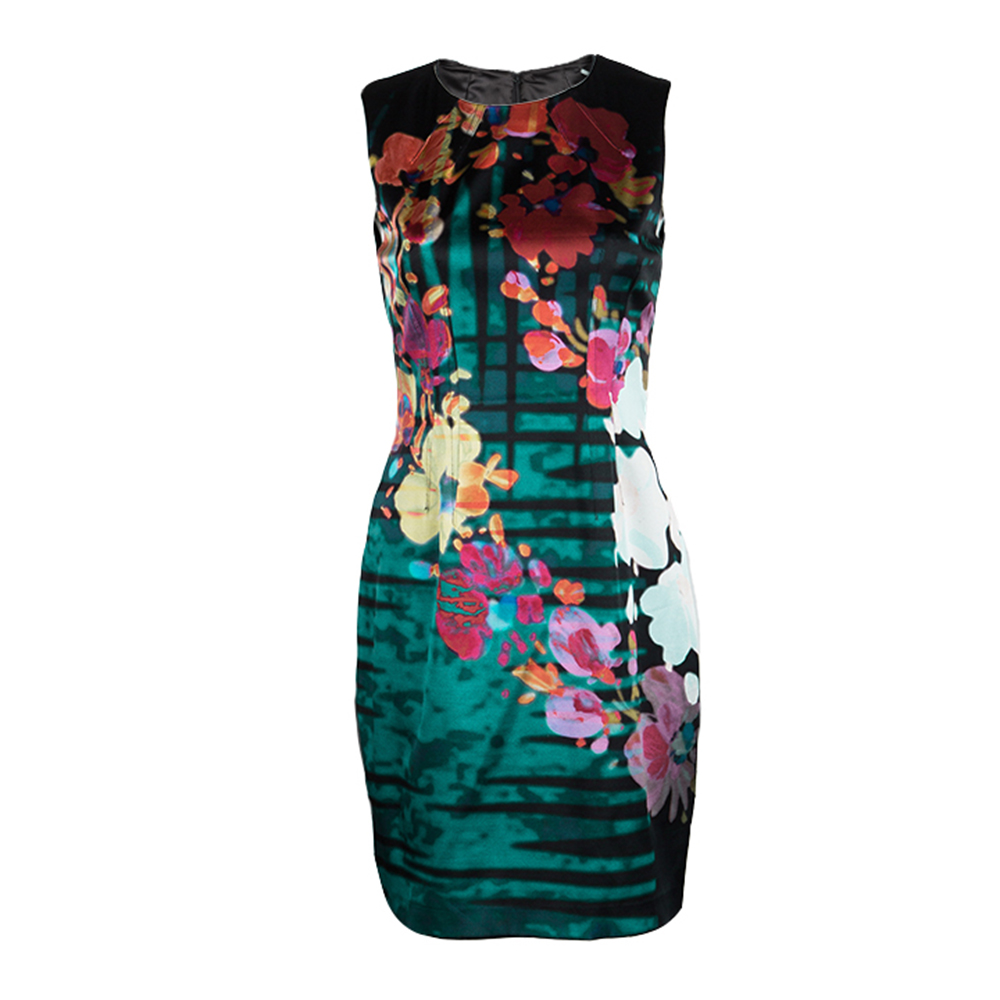 Elie Tahari Black Floral Printed Silk Sleeveless Sheath Dress S
