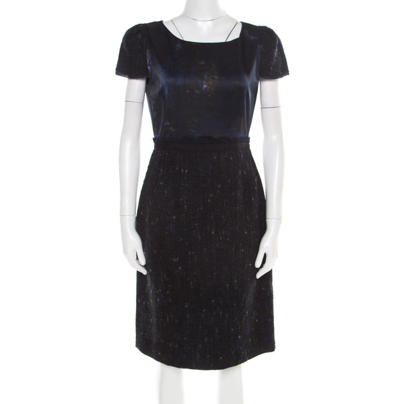 01c16e16 Buy Elie Tahari Navy Blue Printed Satin and Tweed Cap Sleeve Lolly ...