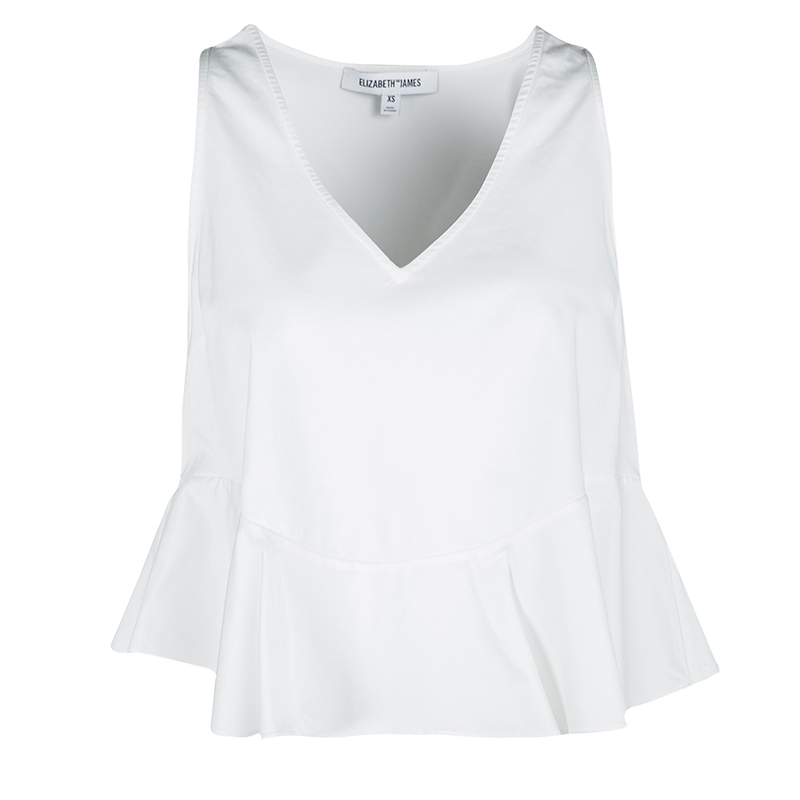 Elizabeth and James White Ruffle Bottom Sleeveless Chester Cropped Top XS