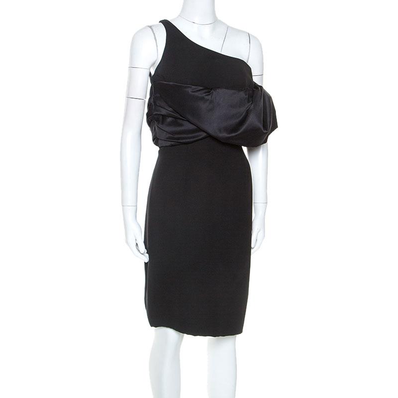 Emanuel Ungaro Black Silk Exaggerated Ruffle Shoulder Dress