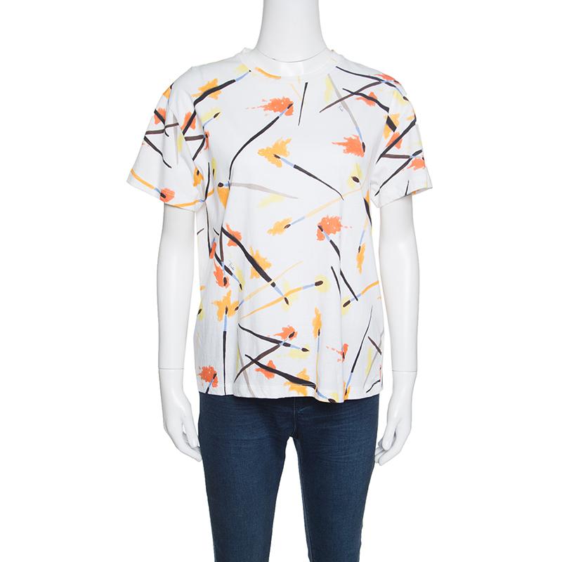 93d290f5 Emilio Pucci White Paint Brush Printed Cotton Short Sleeve T-Shirt M