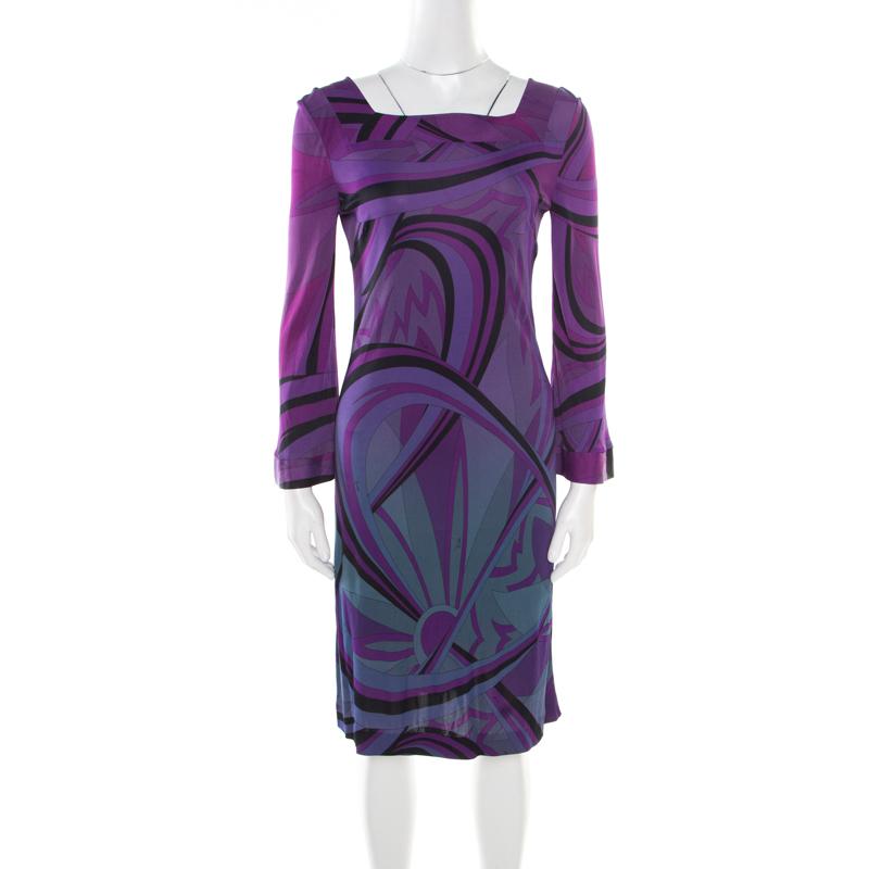 ff32774c016a ... Emilio Pucci Purple Printed Jersey Square Neck Long Sleeve Dress M.  nextprev. prevnext