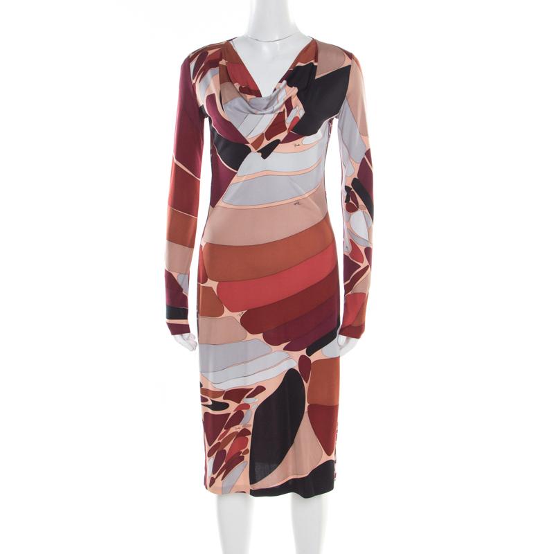 701c203333e1 ... Emilio Pucci Multicolor Printed Silk Jersey Long Sleeve Dress M.  nextprev. prevnext