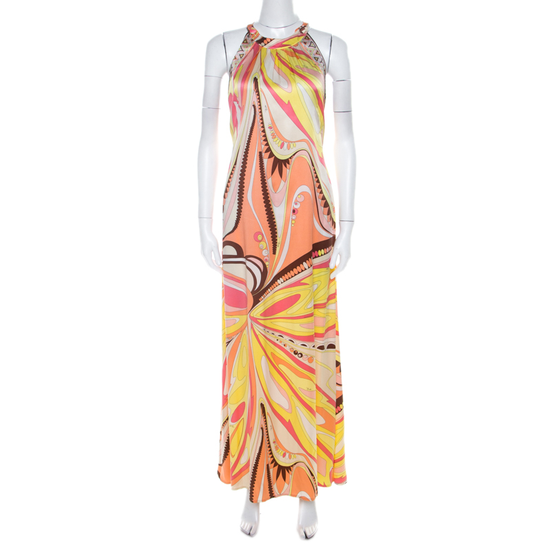 online store d5664 7c900 Emilio Pucci Firenze Multicolor Abstract Print Silk Maxi Halter Dress M