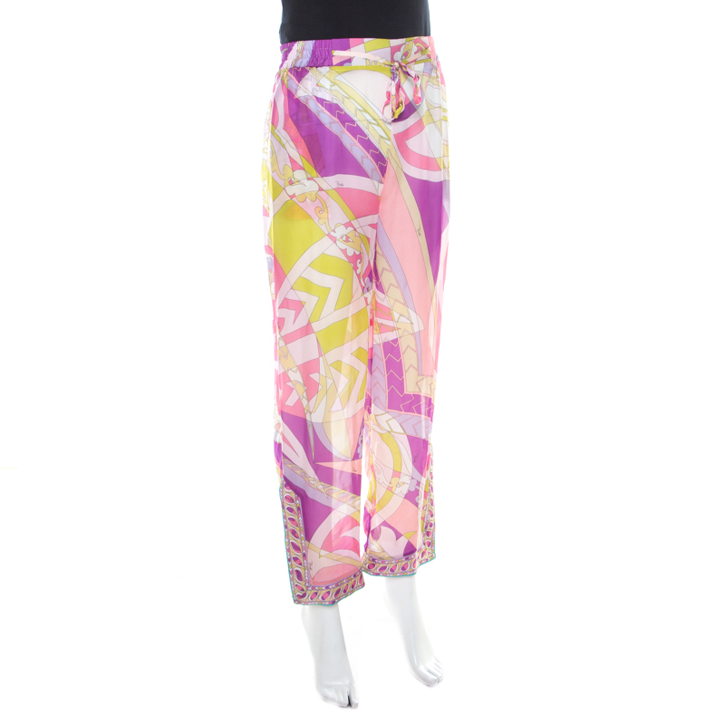 Emilio Pucci Multicolor Abstract Print Sheer Silk Elasticized Waist Trousers