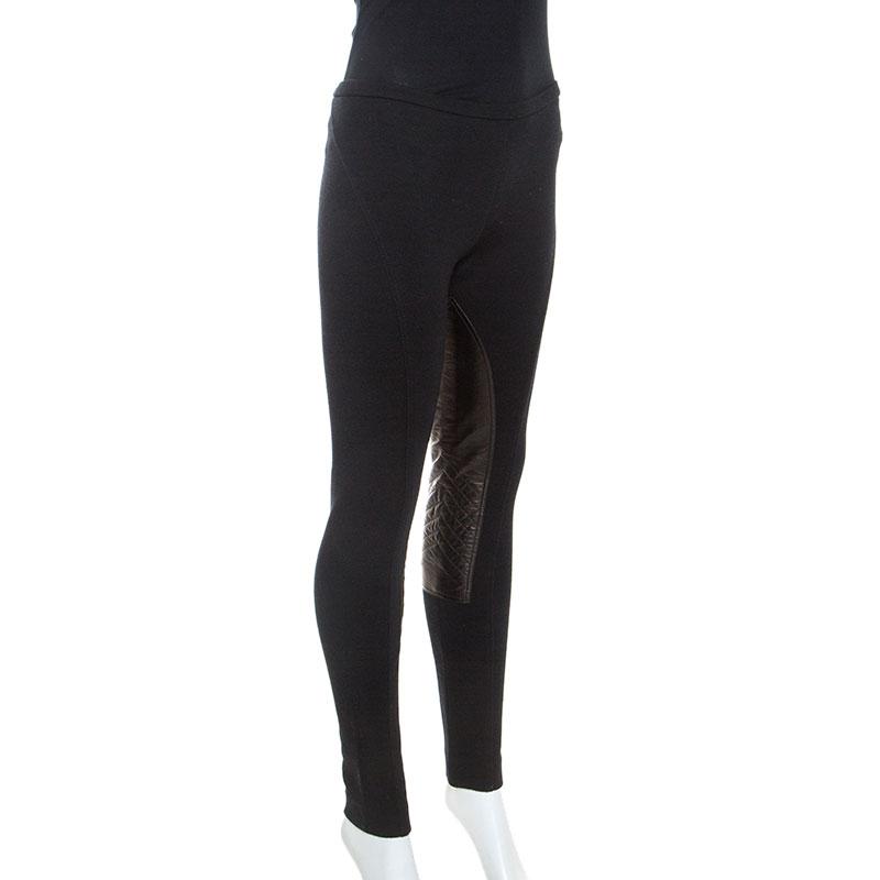 Emilio Pucci Black Stretch Wool Leather Patch Detail Leggings