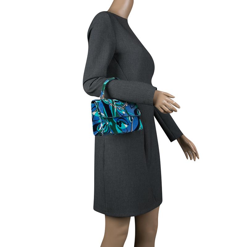 Emilio Pucci Multicolor Printed Velvet Top Handle Bag