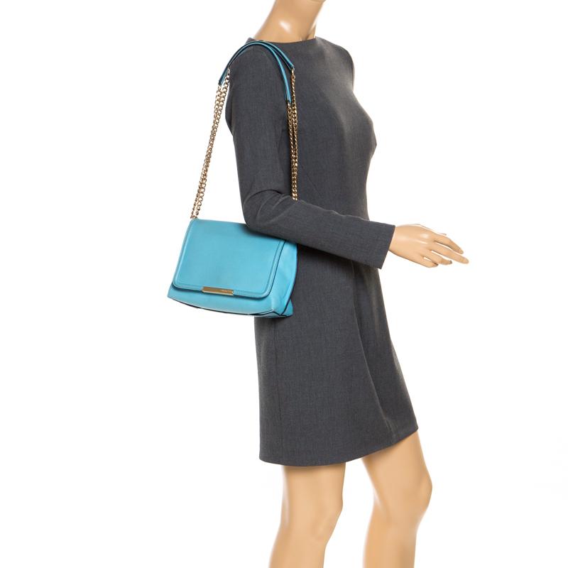 Emilio Pucci Light Blue Leather Newton Chain Shoulder Bag