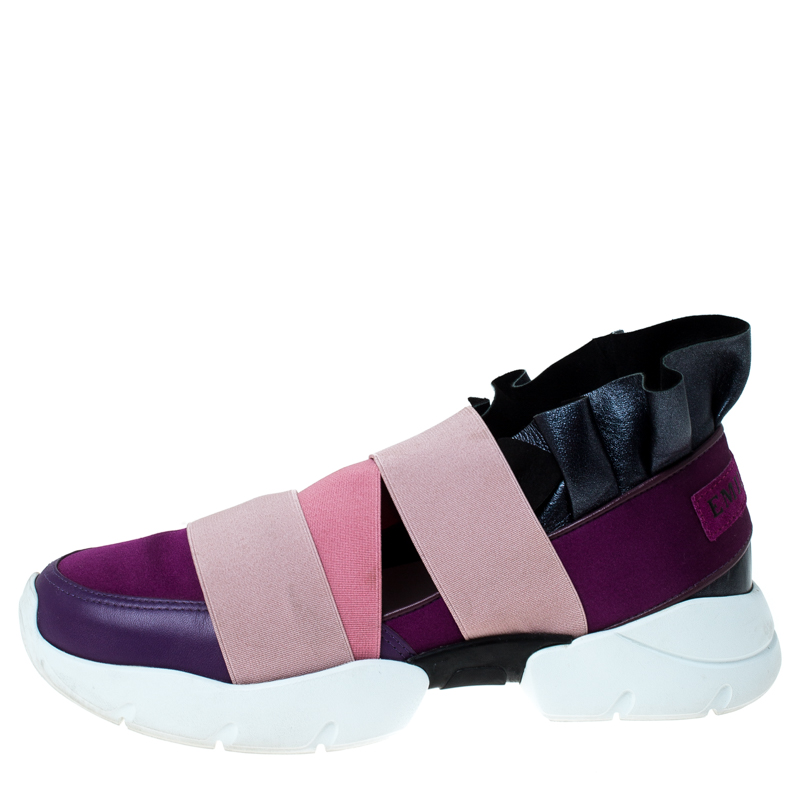 Emilio Pucci Multicolor Leather and Satin City Up Ruffle Sneakers Size