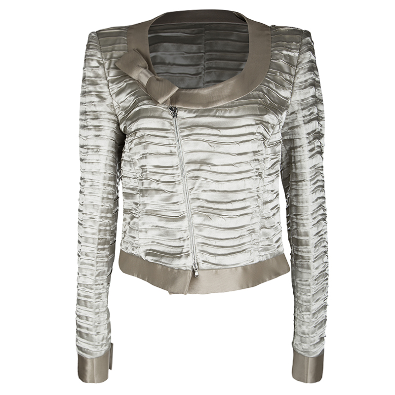 Emporio Armani Beige Pleated Textured Satin Bow Detail Cropped Zip Front Jacket L