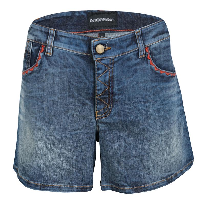 Emporio Armani Indigo Faded Effect Embroidered Pocket Trim Detail Denim Shorts M