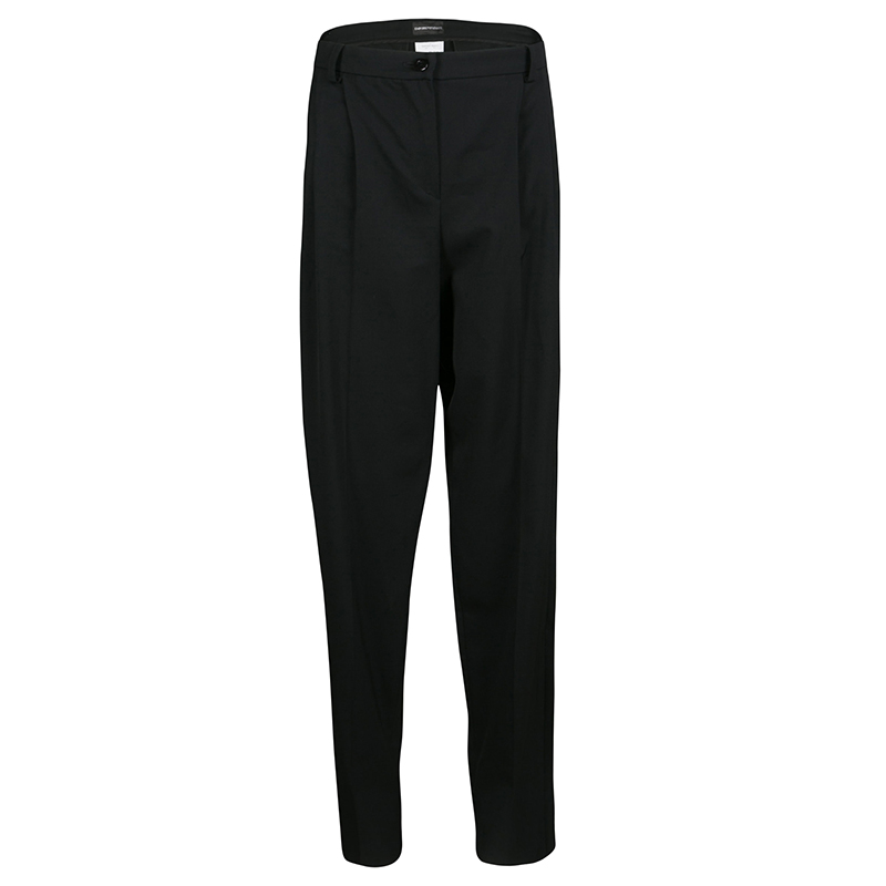Emporio Armani Black Wool Tailored High Waist Formal Trousers M