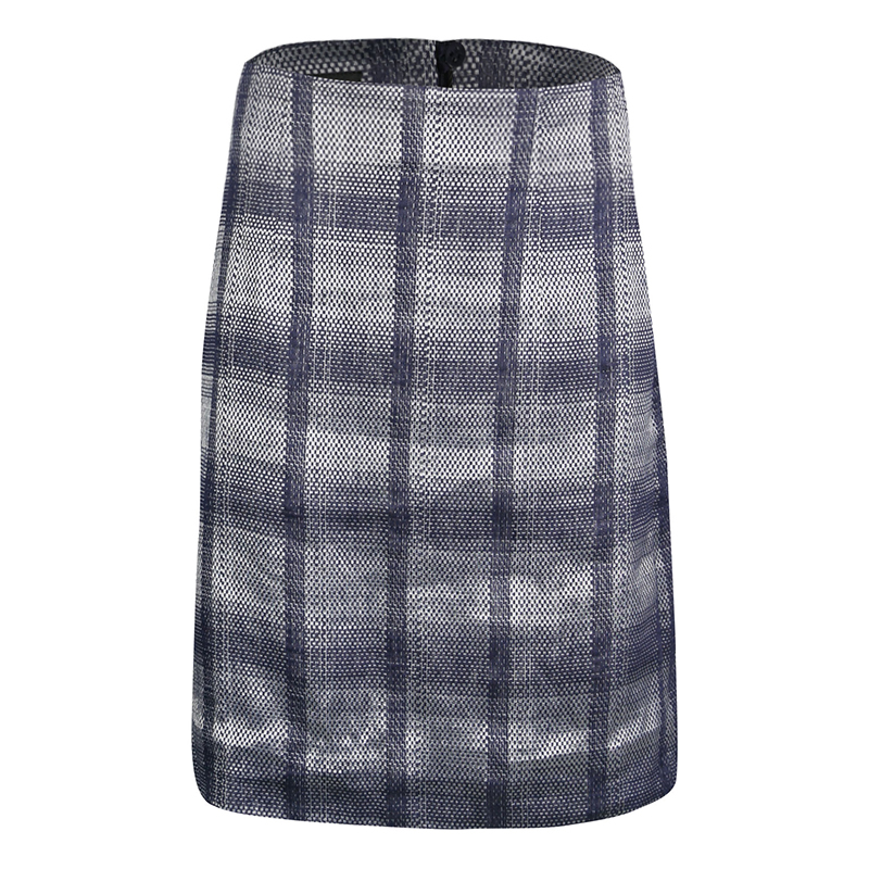 Emporio Armani Navy Blue and Grey Checkered Jacquard Pencil Skirt S