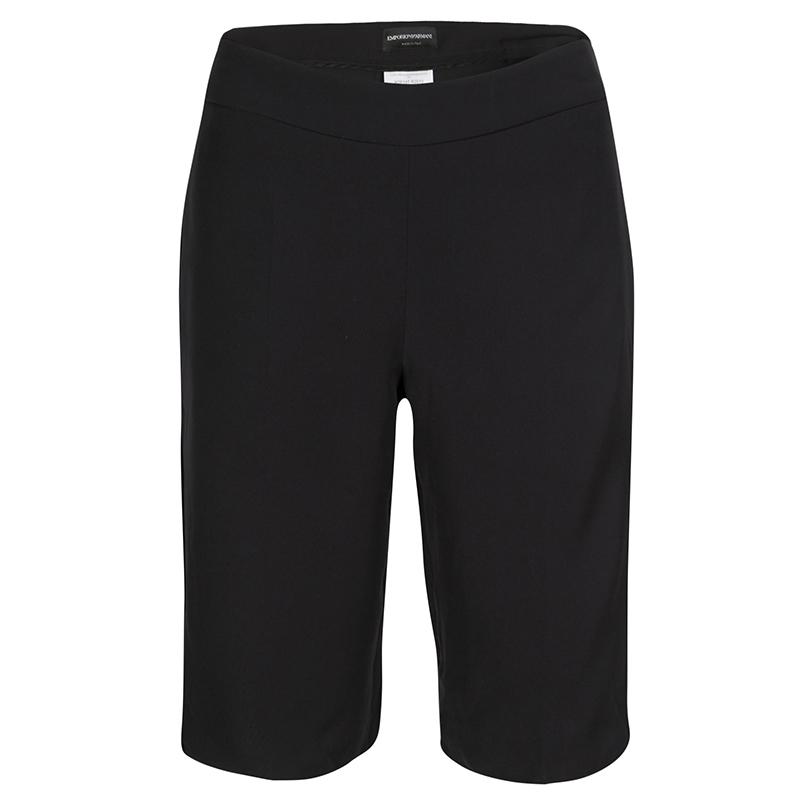 Купить со скидкой Emporio Armani Black Satin Side Stripe Detail Fitted Tuxedo Shorts S