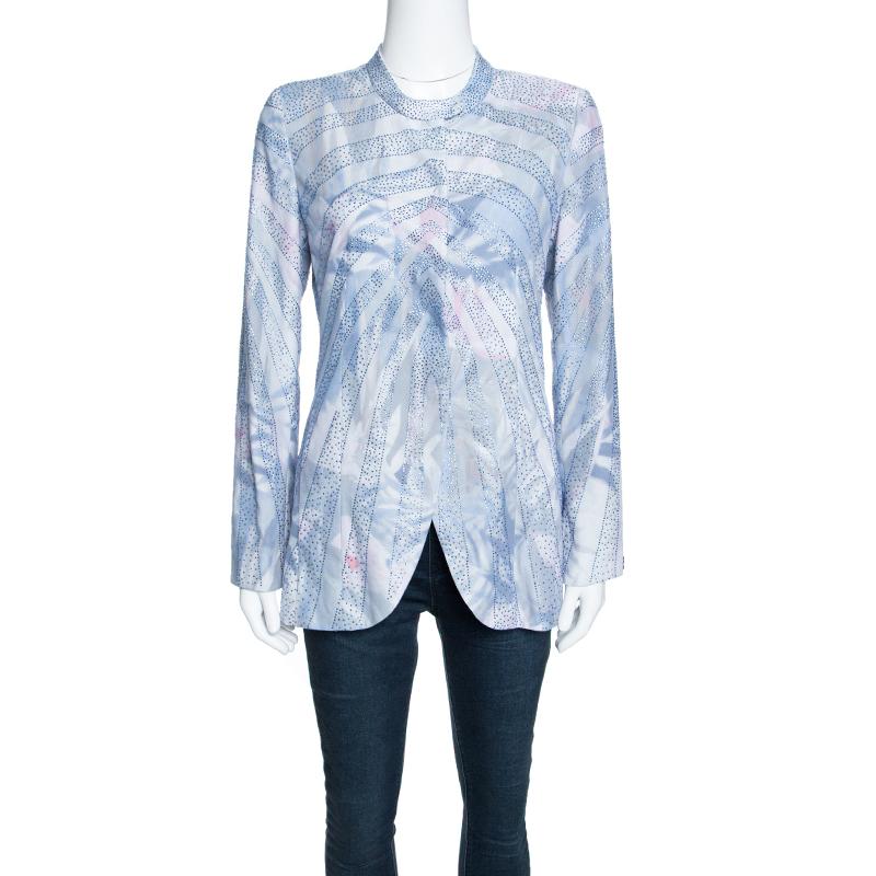 Купить со скидкой Emporio Armani Elite Multicolor Crystal Embellished Mandarin Collar Jacket M