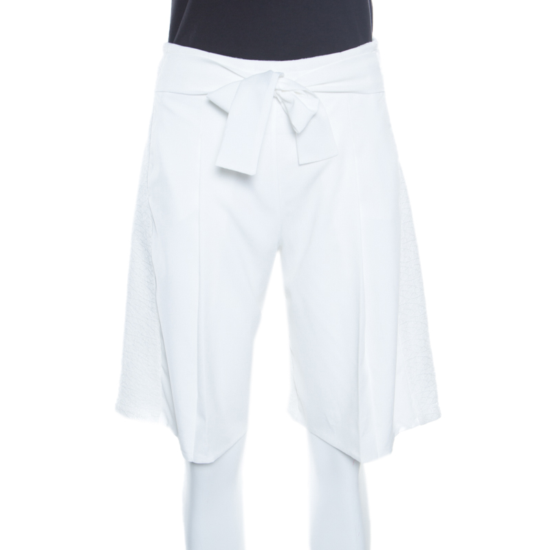 Emporio Armani White Textured Tie Waist Detail Bermuda Shorts S