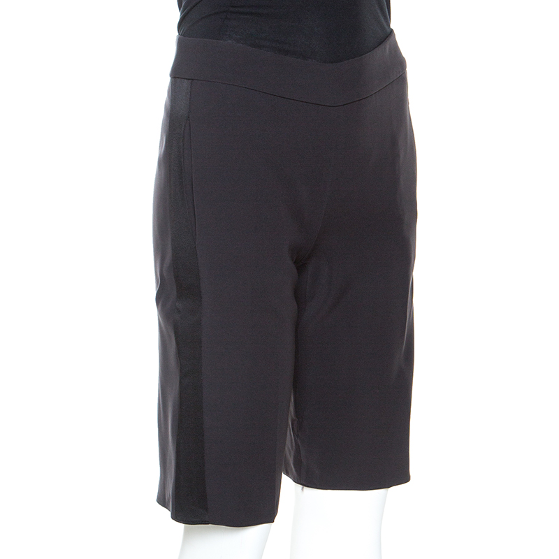 Emporio Armani Schwarze Satin-Side Streifen Detail Ausgestattet Tuxedo Shorts S
