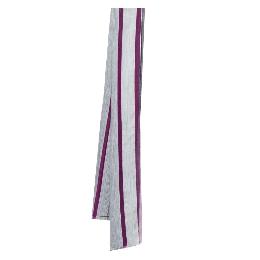 Pre-owned Emporio Armani Purple & Grey Striped Silk Stole