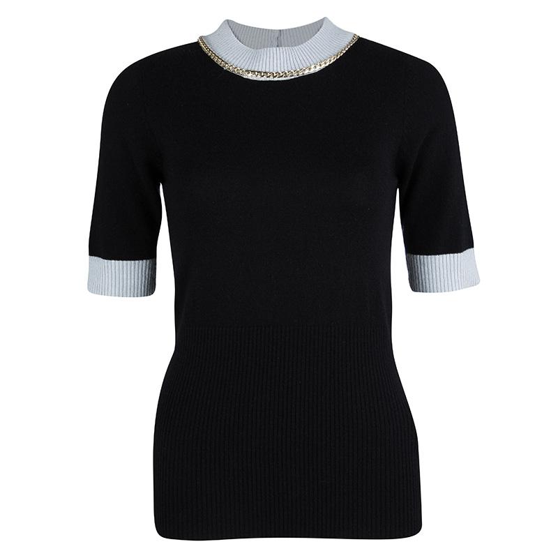f32bd846ec Emporio Armani Black Wool Contrast Ribbed Trim Neck Embellished Sweater M