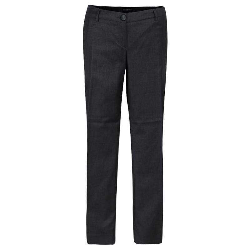 Emporio Armani Grey Wool and Cashmere Tailored Trousers L