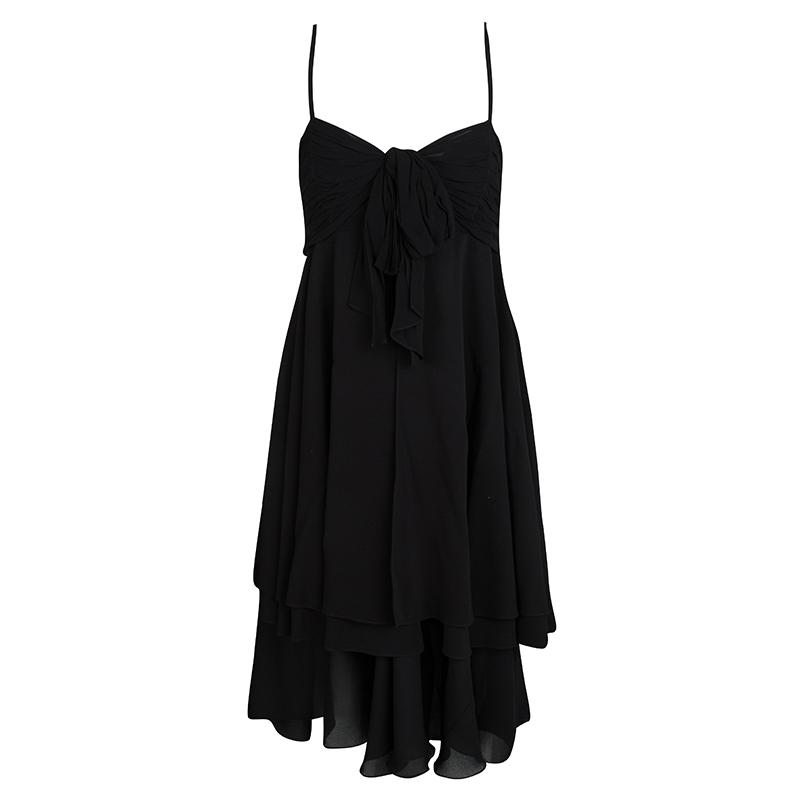 Emporio Armani Vintage Black Layered Ruched Bodice Sleeveless Dress M