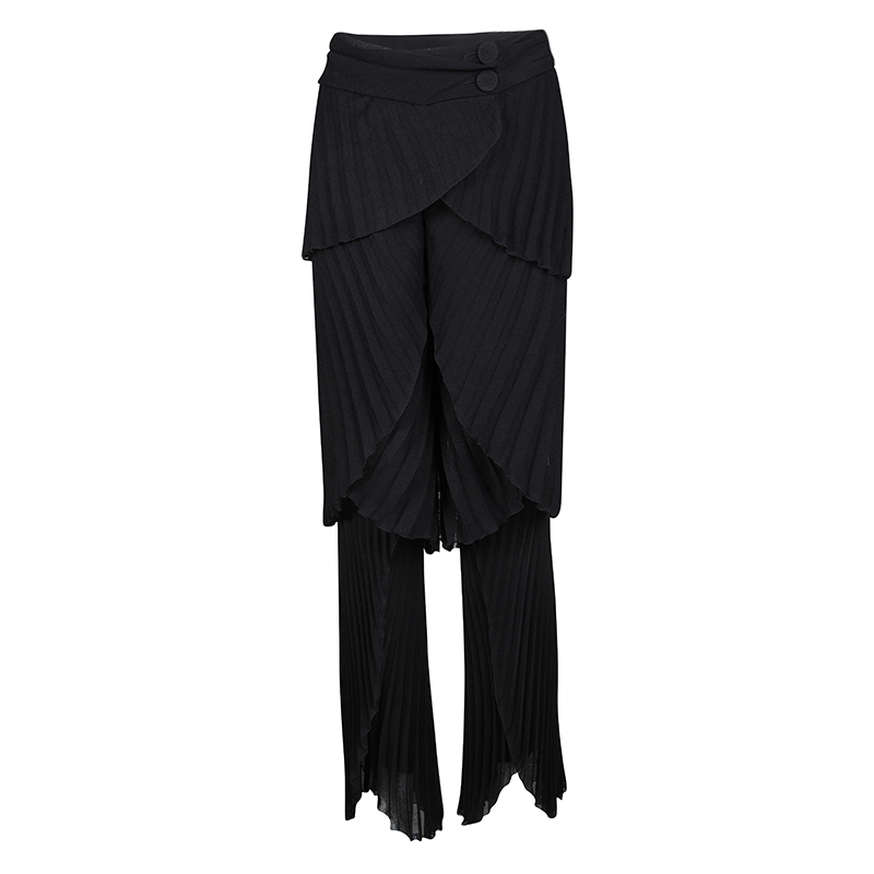 Emporio Armani Black Plisse Layered Pants M