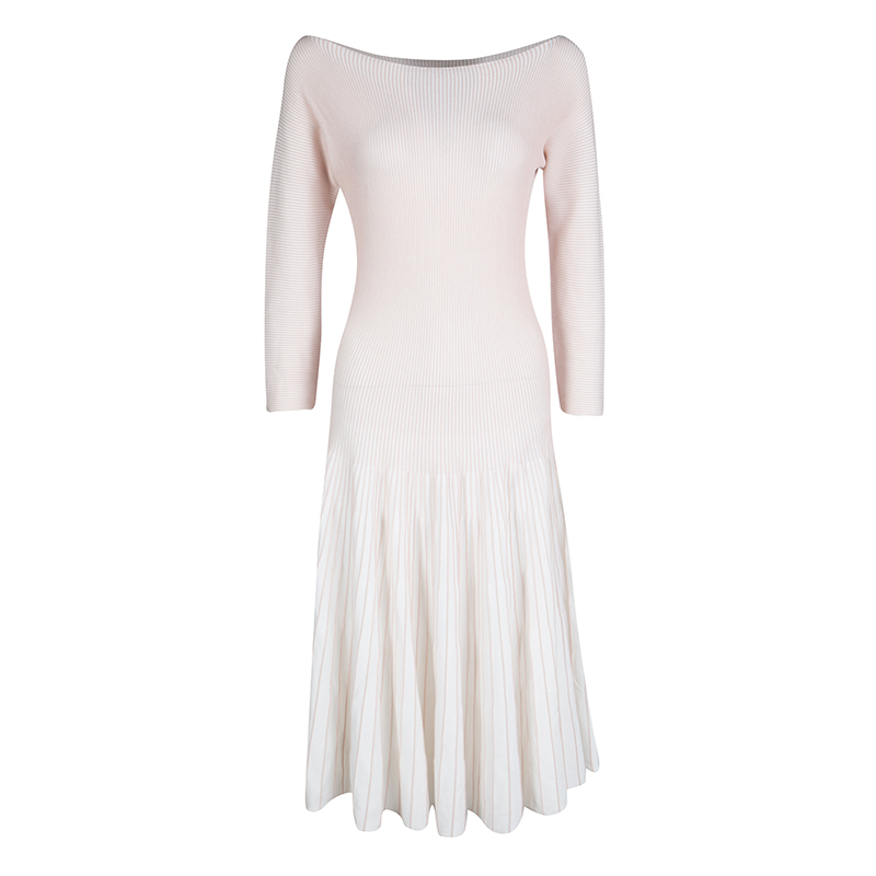Emporio Armani White and Pink Striped Rib Knit Boat Neck Long Sleeve Dress L