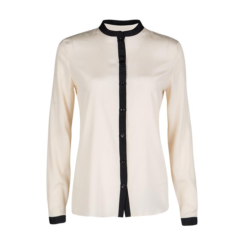 Emporio Armani Beige Contrast Trim Detail Long Sleeve Silk Blouse S