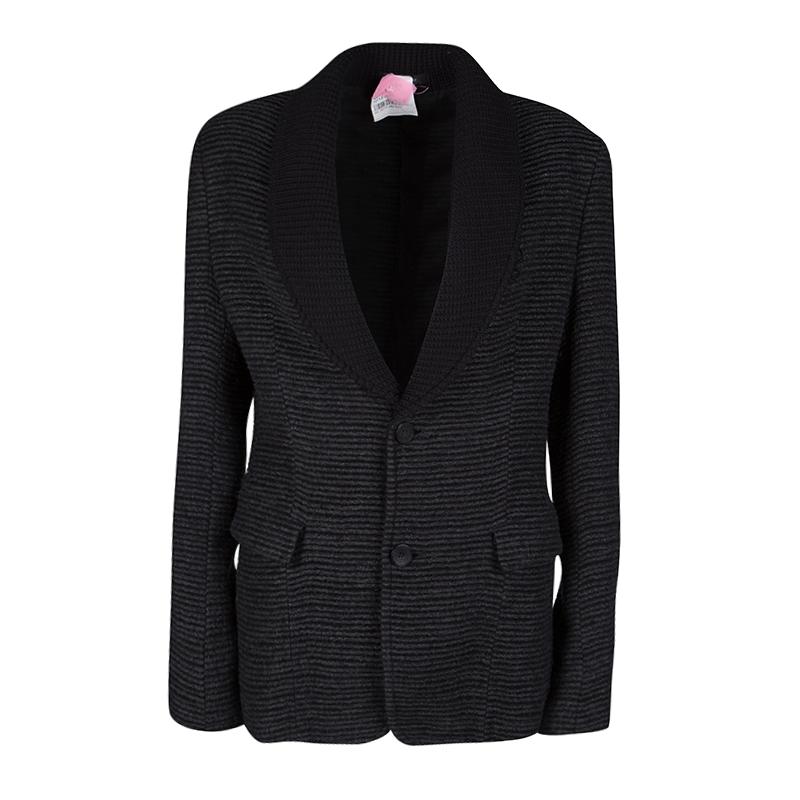Emporio Armani Grey and Black Button Front Brad Line Jacket M