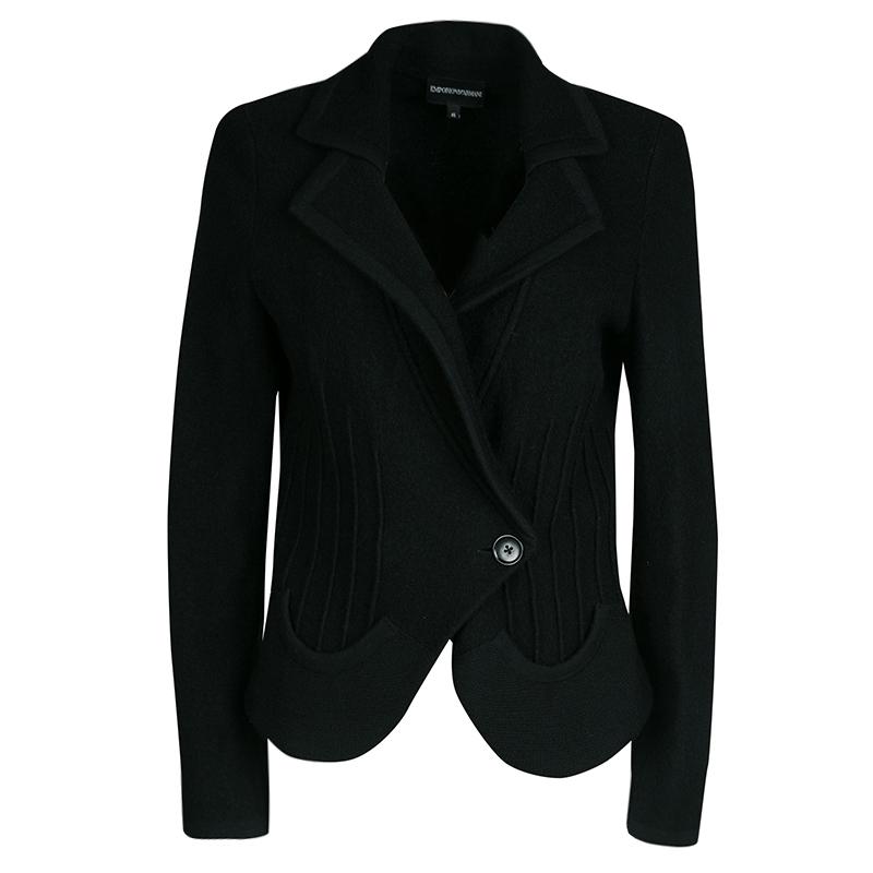 Emporio Armani Black Wool Ribbed Trim Jacket L