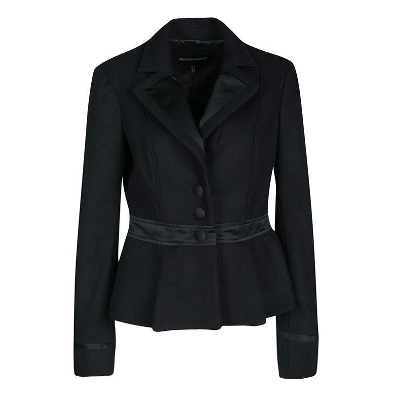 Emporio Armani Black Wool Satin Trim Button Front Short Coat M
