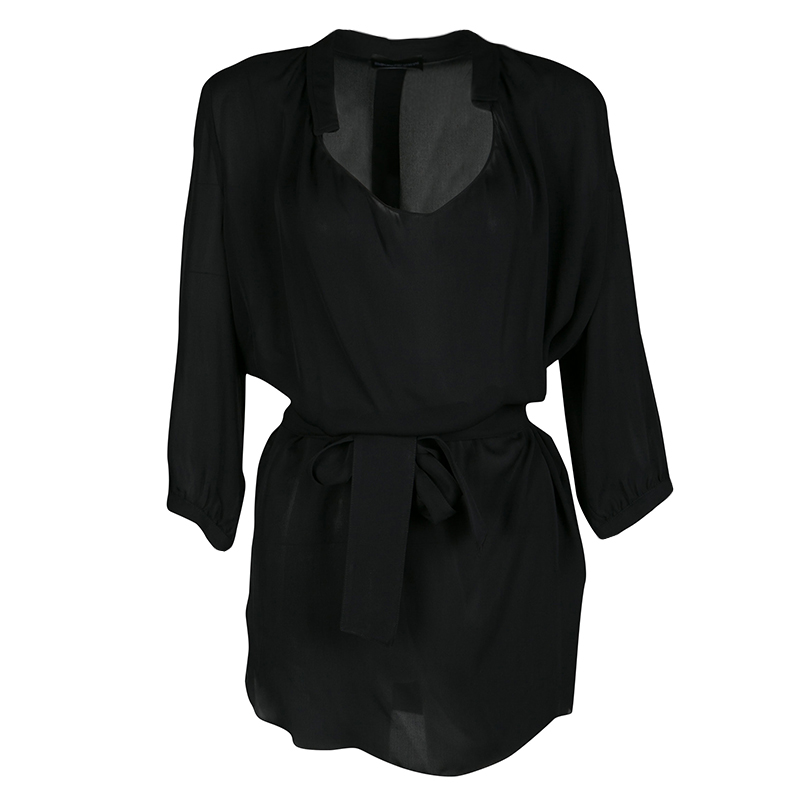 cfeeac76f0 Emporio Armani Black Silk Draped Front Belted Blouse S