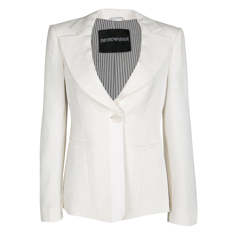 Empório Armani Cream Textured Two Button Blazer M