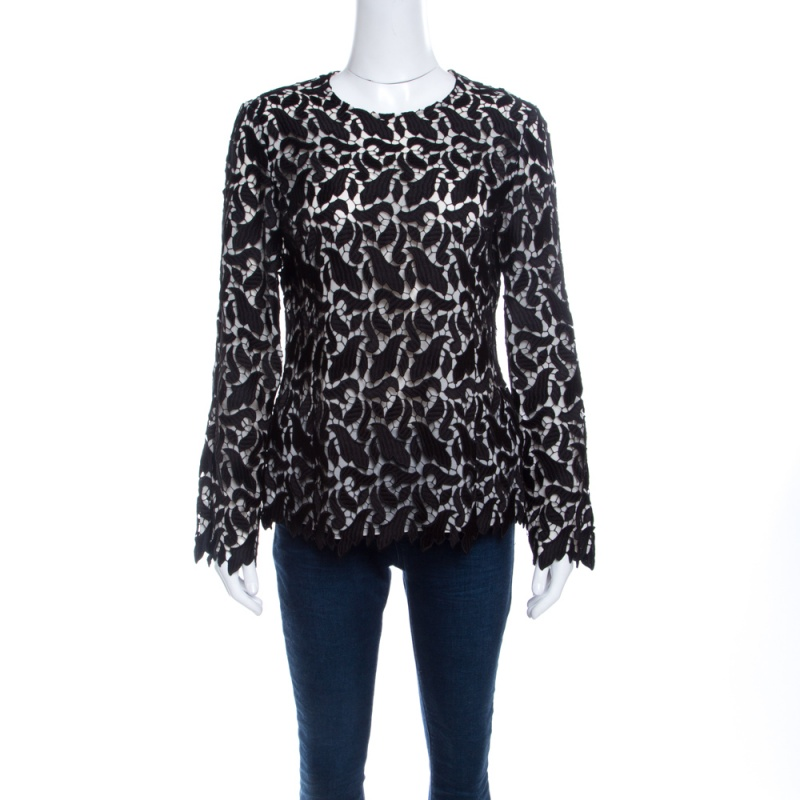 Emporio Armani Black Guipure Lace Long Sleeve Blouse M