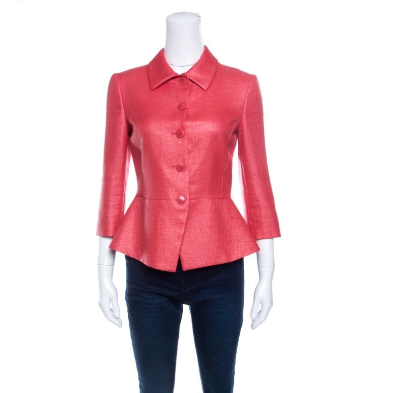 Emporio Armani Pink Textured Peplum Blazer S