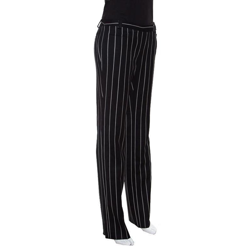 100% Zufriedenheit später attraktiver Preis Emporio Armani Monochrome Striped Wool Pants S