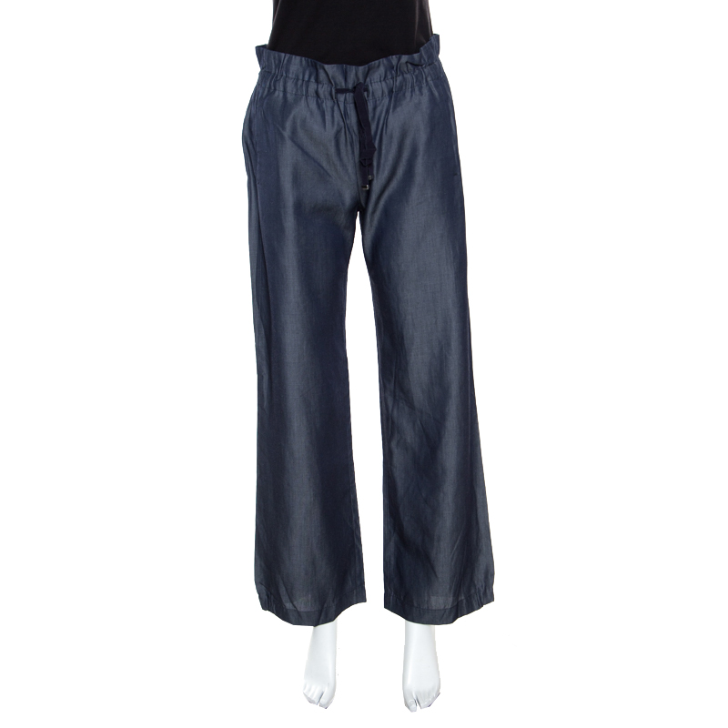 Emporio Armani Navy Blue Chambray Wide Leg Paperbag Pants S