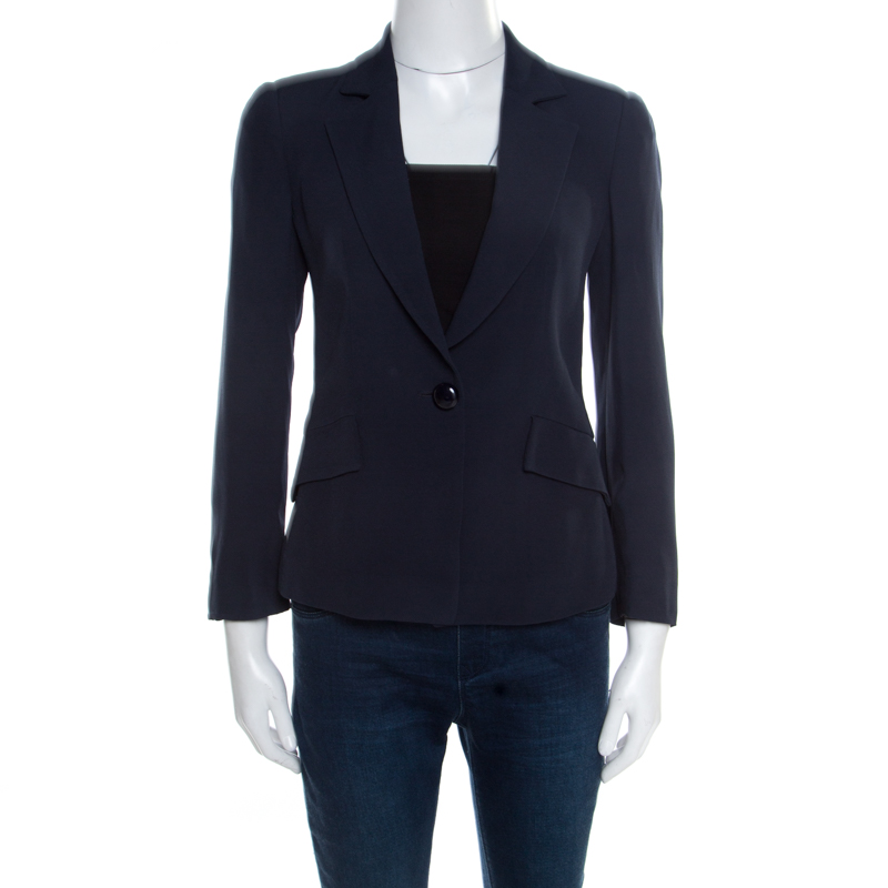 Emporio Armani Navy Blue One Button Tailored Blazer S