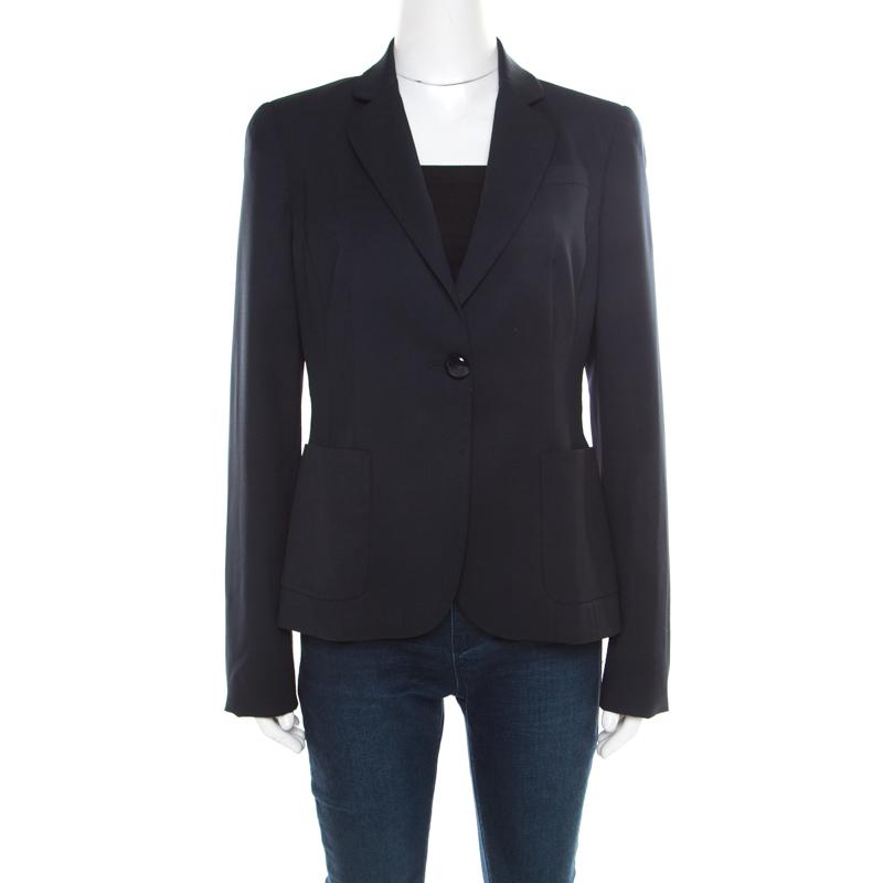 Emporio Armani Navy Blue Wool Tailored Single Button Blazer M