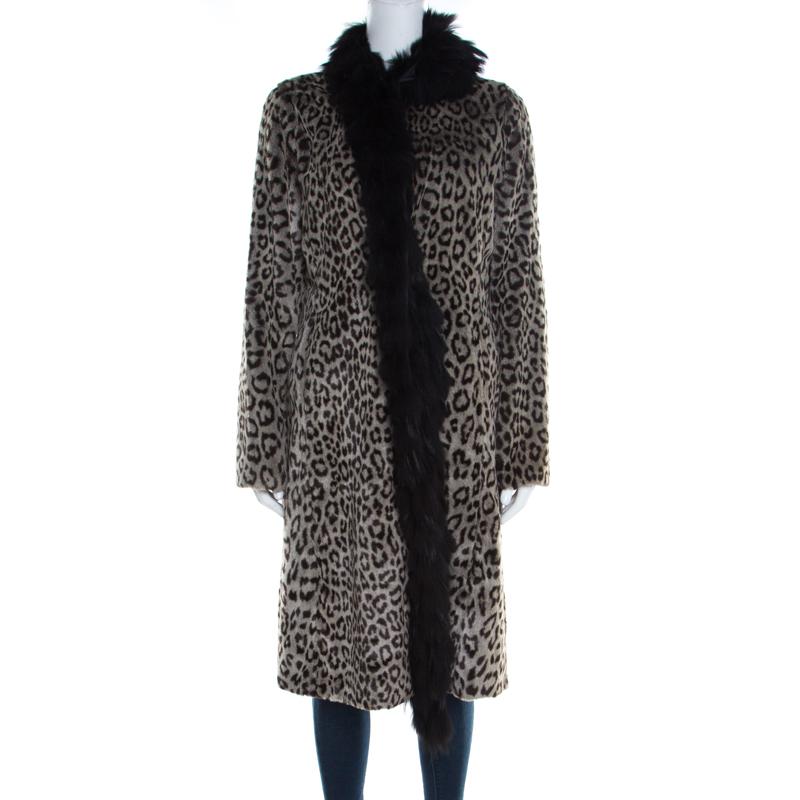 Emporio Armani Leopard Print Faux Fur Trimmed Long Coat M